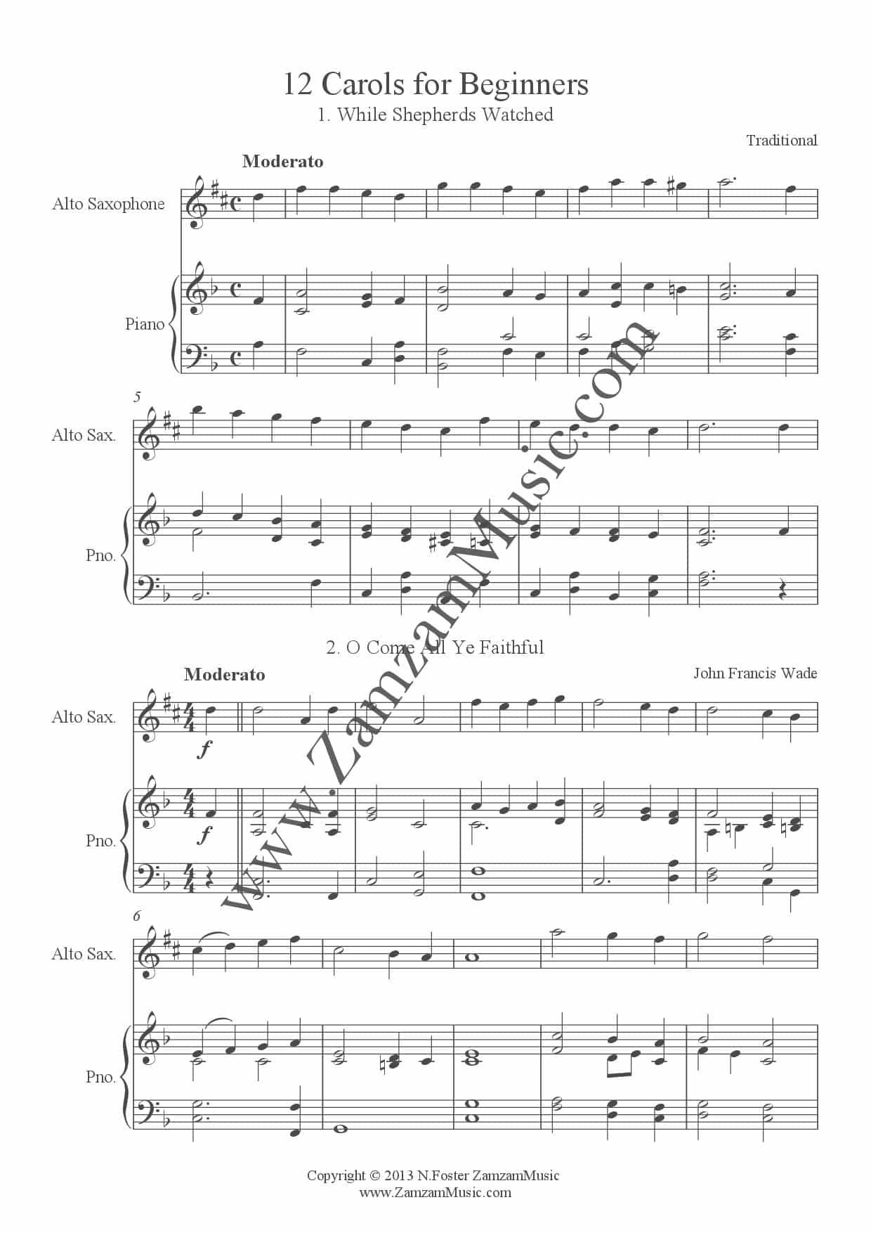 Piano Christmas Music.12 Christmas Carols For Beginner Level Alto Saxophone And Piano